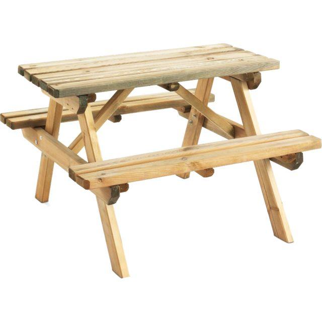 jardipolys table pique nique bois pour enfant wapiti naturel 4 pas cher achat vente. Black Bedroom Furniture Sets. Home Design Ideas