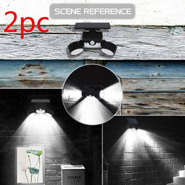 Projecteur à double tête 30 Led étanche à 360 degrés de lumière solaire rotative de sécurité