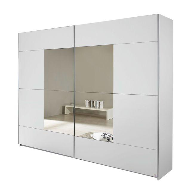 Armoire 2 portes avec miroir 261x210x59cm - blanc