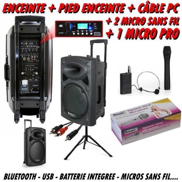 Ibiza Sound Ibiza port 12 vhf bt - pied - câble pc - 2 micros sans fil - 1 micro dj
