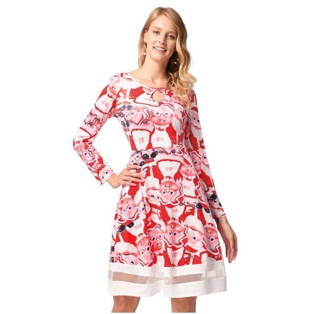588e357621e Wewoo - Robe Femme Modèle de Noël mignon impression à manches longues gaze  robe