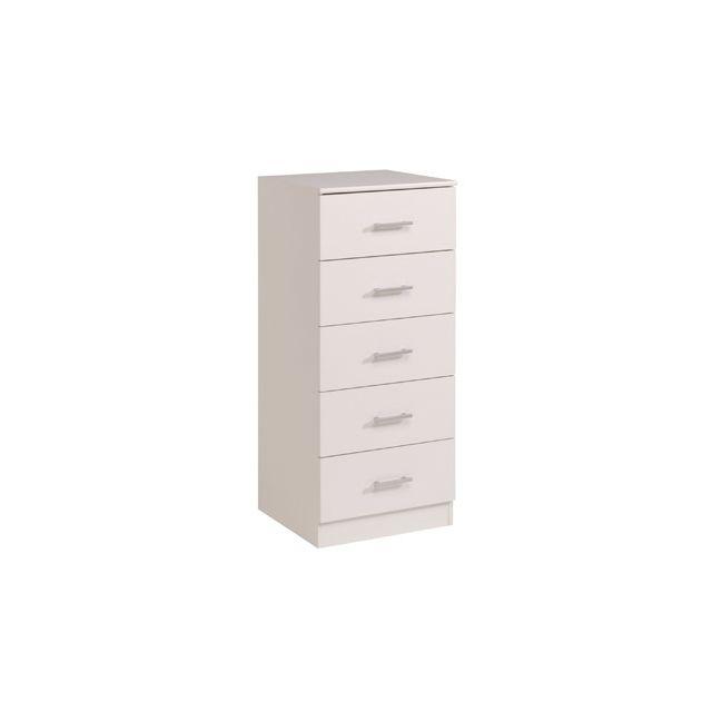 Commode 5 tiroirs 48x44x110cm coloris blanc
