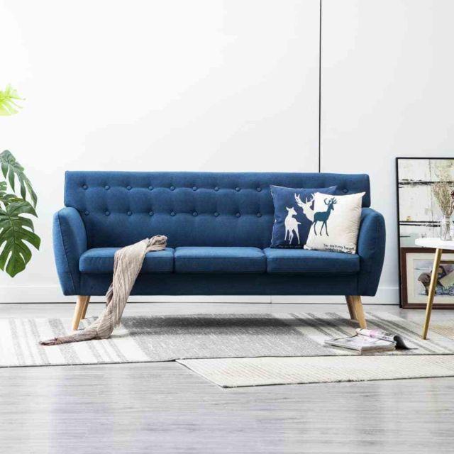 Stylé Meubles famille Berlin Canapé à 3 places Tapisserie en tissu 172x70x82 cm Bleu