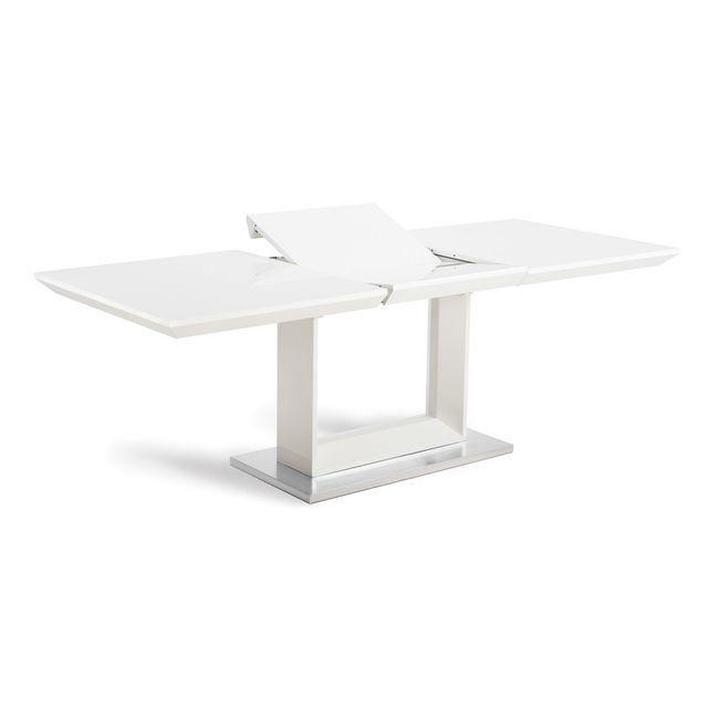 Marque Generique Table à manger rectangulaire extensible en bois et piètement métal L 160/220cm Galaxy - Blanc