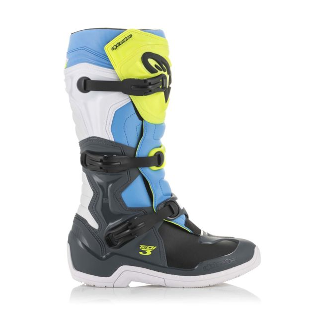 Bottes Moto Cross Tech 3 Cool Gray Yellow Fluo Cyan 45.5