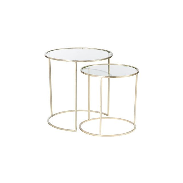 Set de 2 tables gigognes rondes en verre et fer or