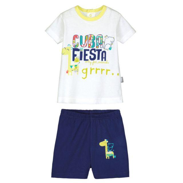 0a7362f03cfa6 Petit Beguin - Ensemble bébé garçon t-shirt + short Cuba Fiesta - Taille -