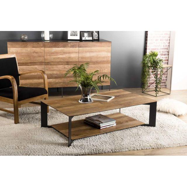 MACABANE Table basse 120x70cm avec tablette Teck recyclé pieds métal