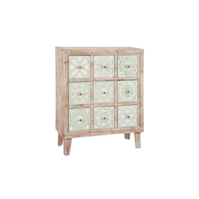 Commode 9 tiroirs en bois et métal 77x34x93cm