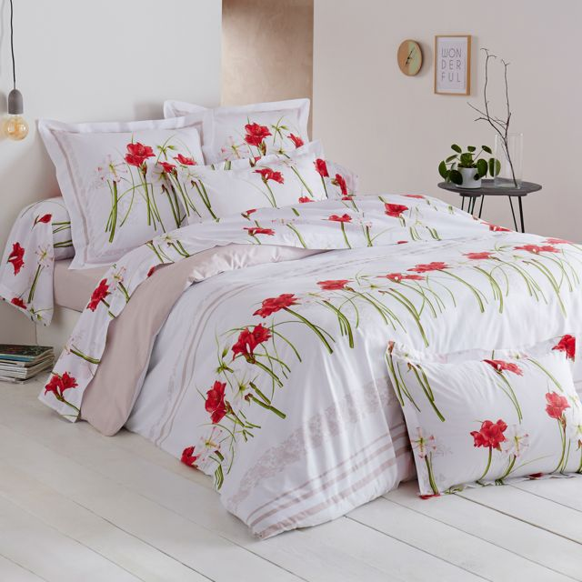 linnea parure de lit 200x200 cm 100 coton amaryllis blanc 3 pi ces 200cm x 200cm pas cher. Black Bedroom Furniture Sets. Home Design Ideas