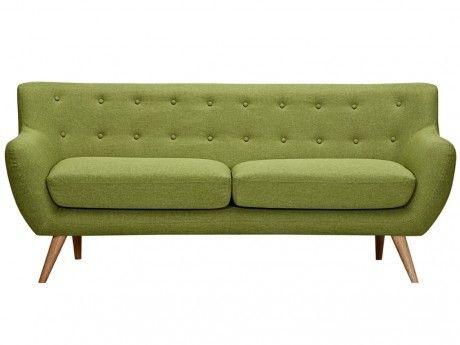 VENTE-UNIQUE Canapé 3 places en tissu SERTI - Vert prairie avec boutons déco assortis