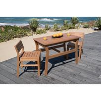 Ensemble de balcon 1 table + 2 chaises en eucalyptus Fsc