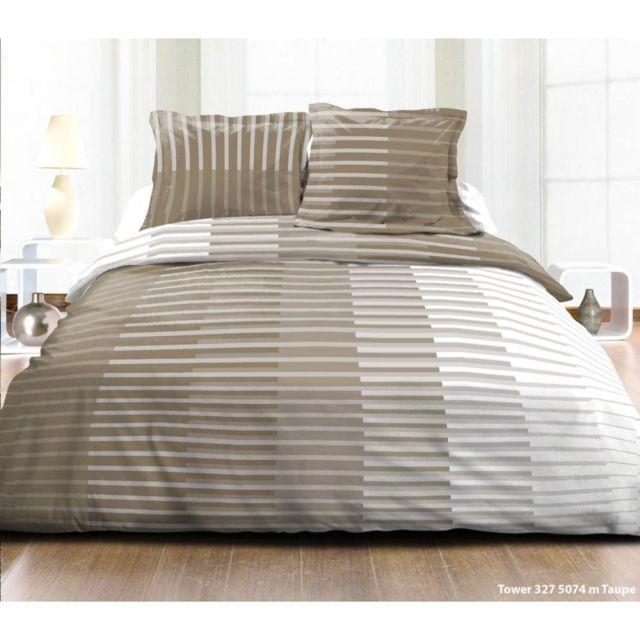 Parure de lit coton 1 place serkito taupe vendu par - Taille housse de couette lit places ...
