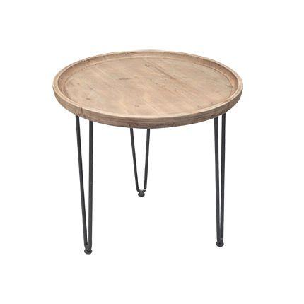 Table gigogne ronde en bois et métal