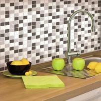 Thedecofactory - Carrelage mural adhésif facile à poser Sticktiles Mosaique Noir & Blanc 4 pièces 26,7 x 26,7cm