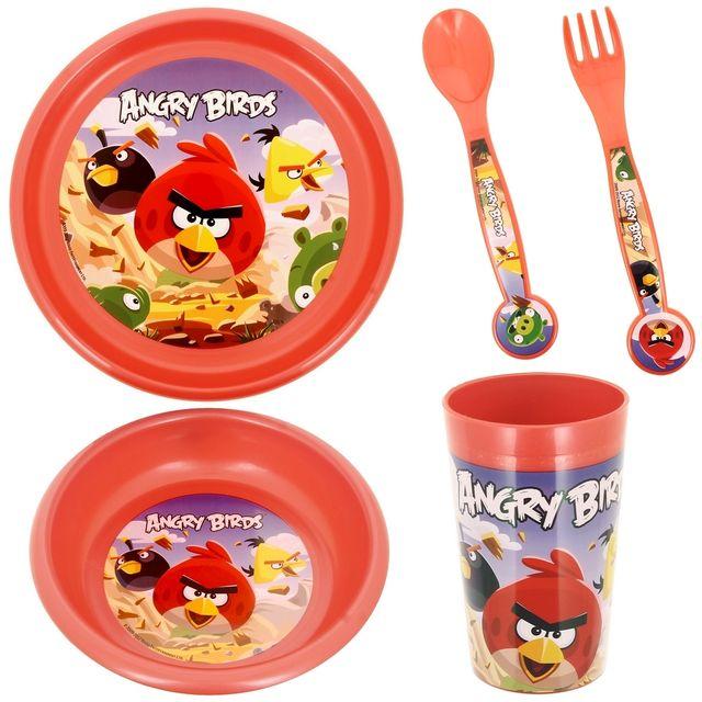 Promobo Set Repas Enfant 4 pièces Licence Angry Birds Gobelet Assiette Bol Et Couverts