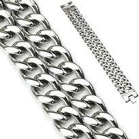 Renobijoux - Bracelet double Chaine acier 22cm