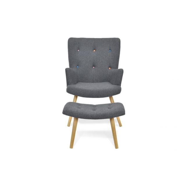 Remarquable Fauteuil scandinave + repose-pieds anthracite