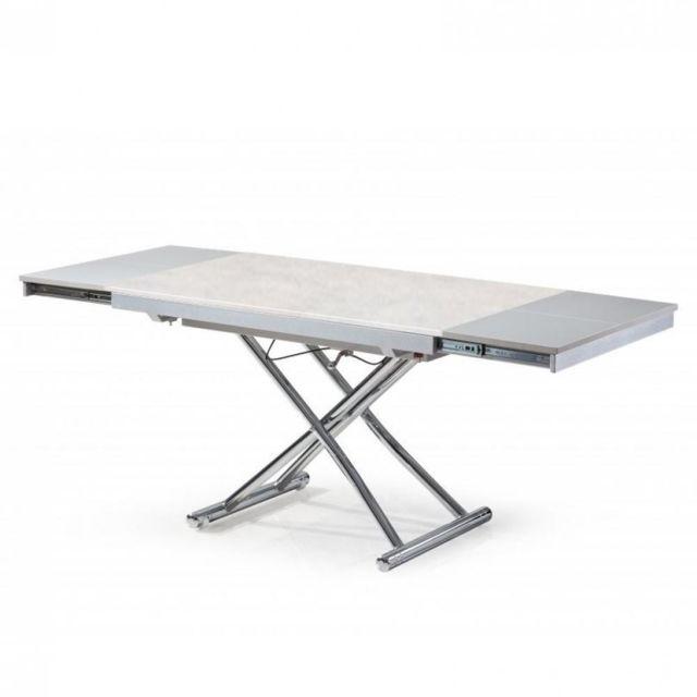 Inside 75 Table basse extensible relevable Jump plateau en céramique collé sur verre aspect béton gris clair