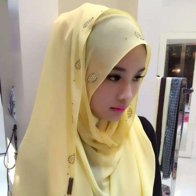 Wewoo - Strass en Mousseline de Soie Perle Caché Boucle Foulard Femme  Nationalité Style Foulard Hijab Musulman Foulard Jaune - pas cher Achat    Vente ... 6d160e81e9d