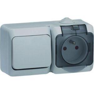 schneider electric interrupteur va et vient avec prise de courant 2p t cedar 230 v gris ip44. Black Bedroom Furniture Sets. Home Design Ideas