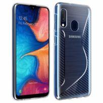 Coque Samsung Galaxy A50 S Line Effet Brossé Carbone Silicone Souple noir Noir