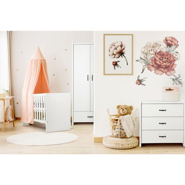 Klups Chambre complète lit bébé 60x120 - commode - armoire 2 portes LittleSky by Amelia White - Blanc