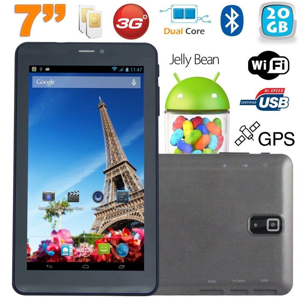 Tablette tactile 3G 7 pouces Dual Sim Android 4.2 Dual Core Noir 20Go