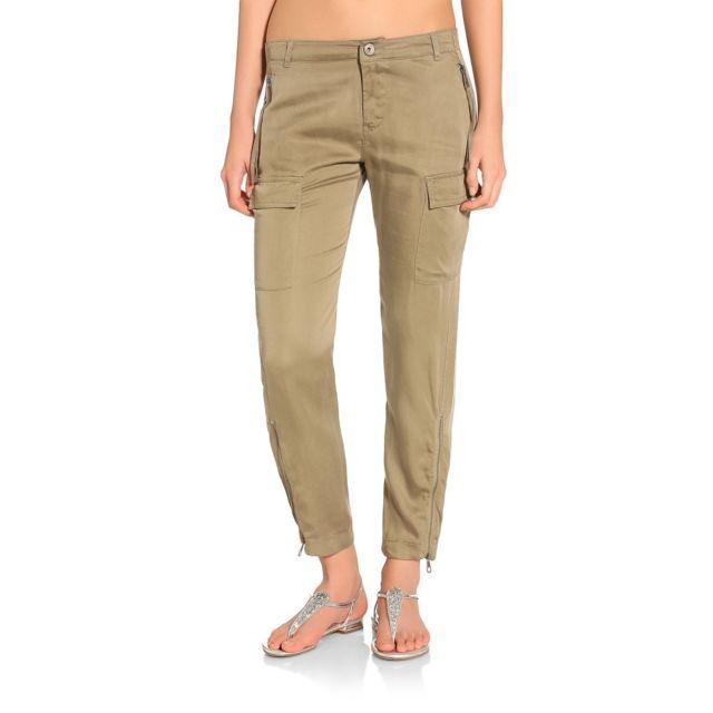 5e2b00697d9a Guess - Pantalon Femme Ambre vert kaki - Taille - 25 - pas cher ...