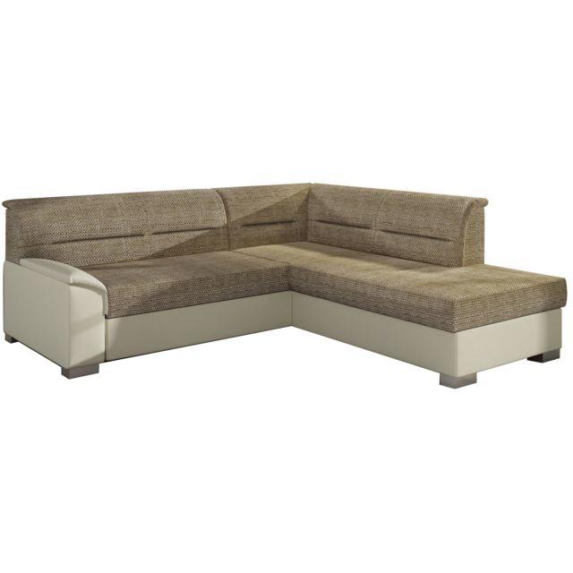COMFORIUM - Canapé d angle convertible 3 places en tissu beige et pvc avec  coffre ab8b5e49bb8b