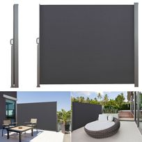 Idmarket - Paravent rétractable 300 x 140 cm store gris latéral enroulable