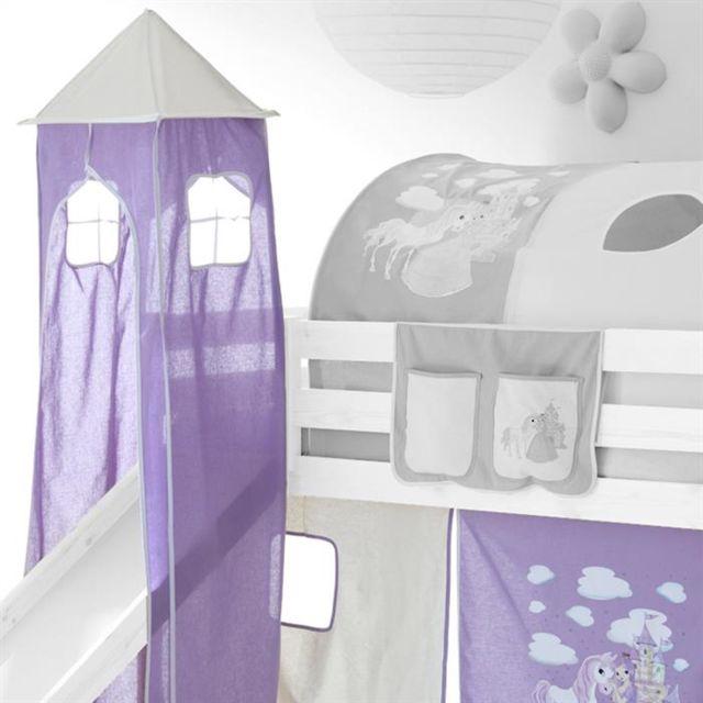 idimex donjon tour tente pour lit sur lev avec toboggan motif princesse lilas et blanc blanc. Black Bedroom Furniture Sets. Home Design Ideas