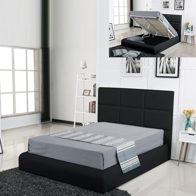 MEUBLER DESIGN Lit coffre design Alves - Noir - 140x190