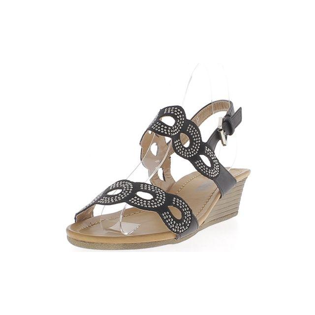 Chaussmoi - Sandales compensées noires talon de 4,5cm et semelle épaisse de 1cm larges brides avec strass