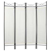 Paravent blanc tissu 4 panneaux 180 x 160cm décoration 0801001