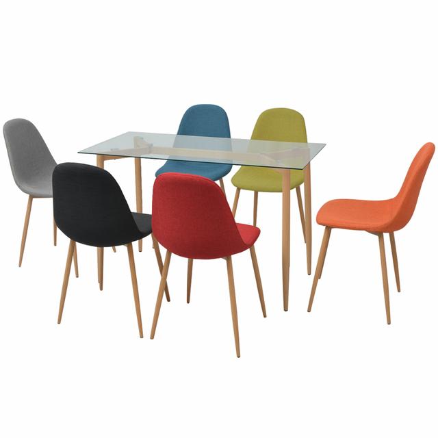 Vidaxl Ensemble de salle à manger sept pièces Multicolore
