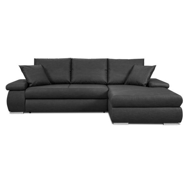 Kaligrafik Canapé d'angle convertible en simili cuir noir et rangement dans les accoudoirs Daryl - Noir - Droit