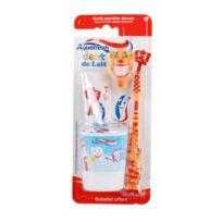 Aquafresh - Kit dentaire pour enfant 3-5 ans Popsy - Spécial Dents de lait - Orange