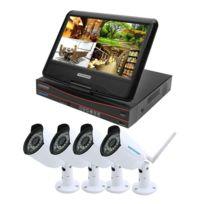 Wewoo - Vidéosurveillance Hd 720 P 1.0 Méga Pixel 2.4 Ghz WiFi Ip Bullet Caméra 10.1 pouce Lcd Écran Nvr Kit