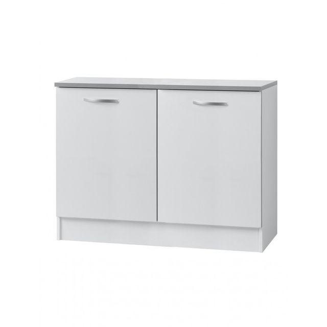 Altobuy twist blanc meuble bas 2p 120cm sebpeche31 for Meuble bas blanc