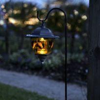 Star Trading - Solar - Lanterne vitrail à piquet d'extérieur Solaire Led Noir H90cm | Luminaire d'extérieur Best Season designé par