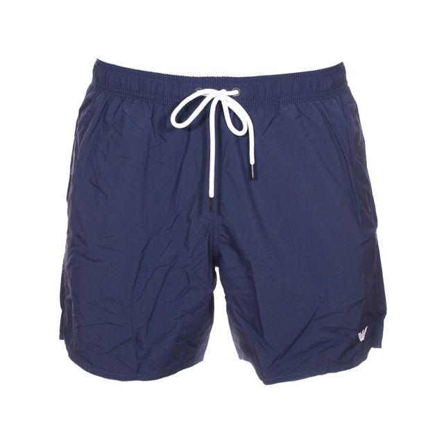 Armani Ea7 Short de bain Emporio Armani bleu marine brodé du logo en blanc