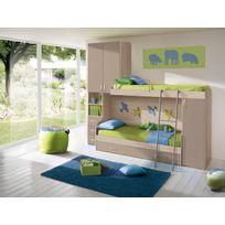 Mennza - Chambre d'enfant complète Hurra combiné lits superposés décor orme / beige taupe