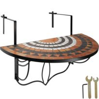 Table de Jardin, Table de Balcon Pliante Suspendue en Mosaïque 76 cm x 65  cm x 57,5 cm Blanc Marron