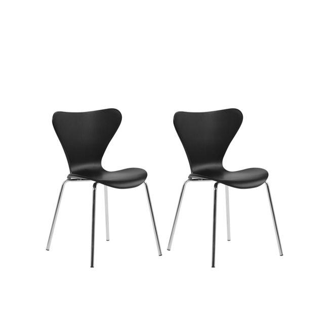 Lot de 2 chaises de salle à manger noires BOONVILLE blanc