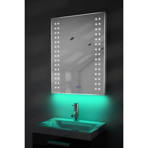 diamond x collection miroir salle de bain horloge num lumineux rvb anti bu e capteur. Black Bedroom Furniture Sets. Home Design Ideas