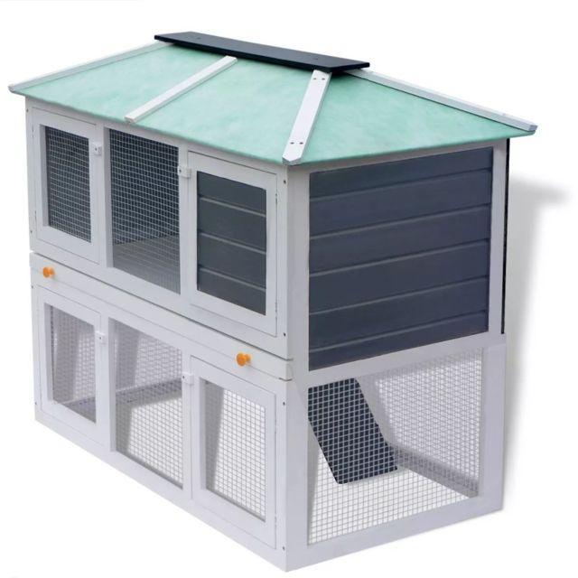 Vidaxl Cage double pour animaux Bois | Blanc