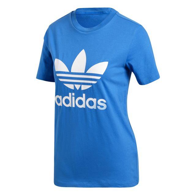 Adidas T shirt femme Trefoil pas cher Achat Vente Tee