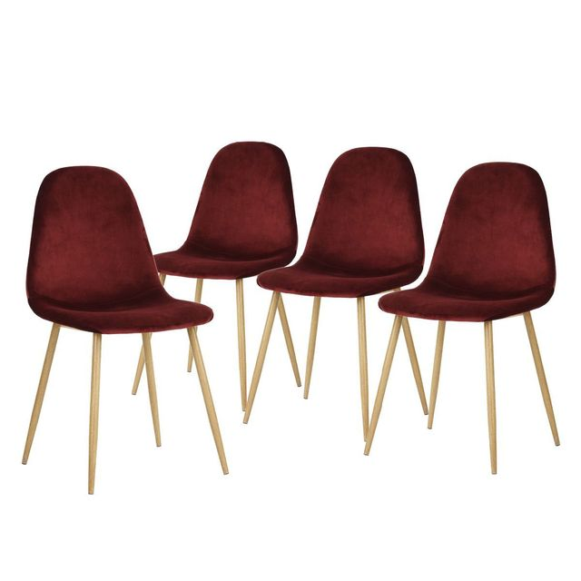 Altobuy helga lot de 4 chaises bordeaux rouge pas for Chaise norvegienne