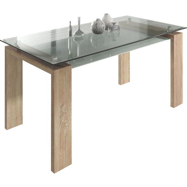 Comforium Table design de salle à manger 160 cm en verre pieds sonoma